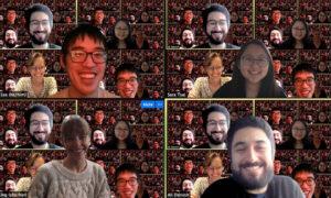 UC Berkeley Law students Gary Lee, Kat King, Sara Tsai and Ali Darvish enjoy a Zoom study session.