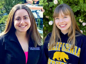 Left to right: Gaby Allaf and Sophia Dumesny, two students living on campus in spring 2021.