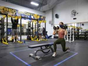 Undergraduate Hannah Theodore working out at the RSF.